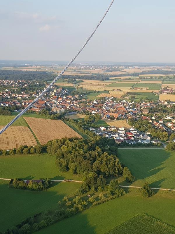 Ballonfahrt, Blick auf die Landschaft (Altheim)